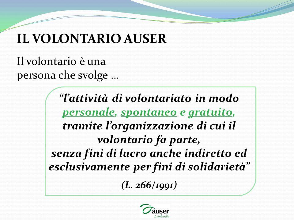 """IL VOLONTARIO AUSER Il volontario è una persona che svolge … """"l'attività di volontariato in modo personale, spontaneo e gratuito, tramite l'organizzaz"""