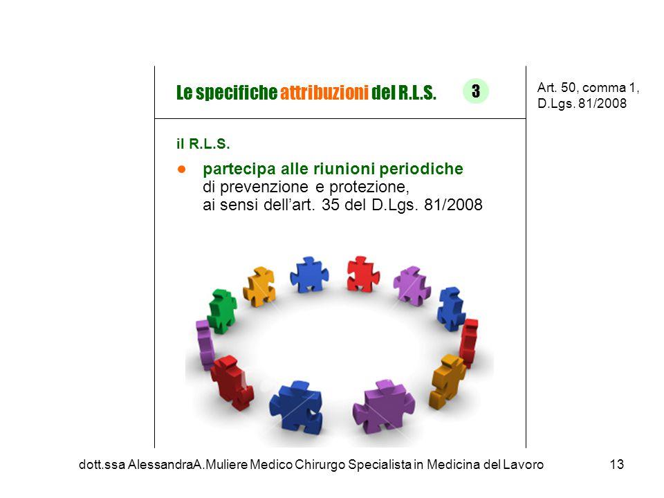 partecipa alle riunioni periodiche di prevenzione e protezione, ai sensi dell'art. 35 del D.Lgs. 81/2008 Le specifiche attribuzioni del R.L.S. Art. 50