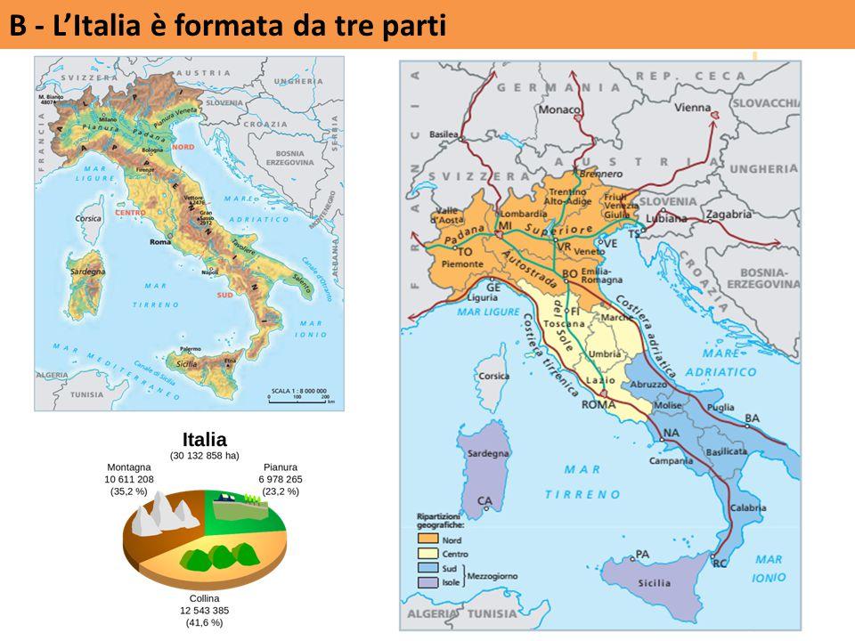 B - L'Italia è formata da tre parti