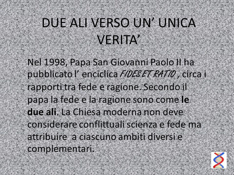 DUE ALI VERSO UN' UNICA VERITA' Nel 1998, Papa San Giovanni Paolo II ha pubblicato l' enciclica FIDES ET RATIO, circa i rapporti tra fede e ragione. S