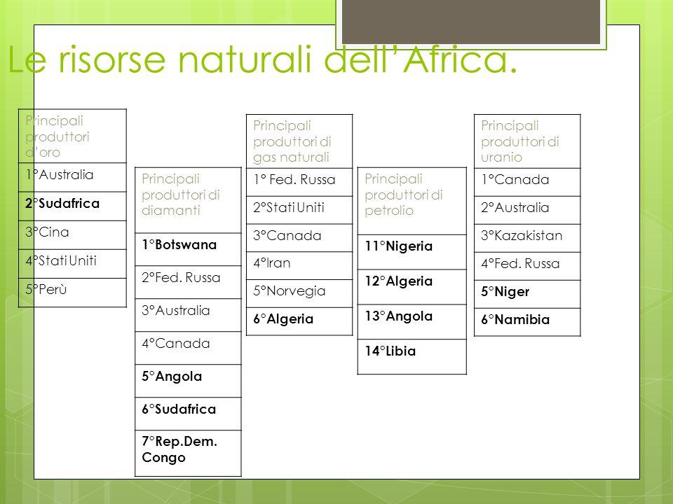 Le risorse naturali dell'Africa. Principali produttori d'oro 1°Australia 2°Sudafrica 3°Cina 4°Stati Uniti 5°Perù Principali produttori di gas naturali