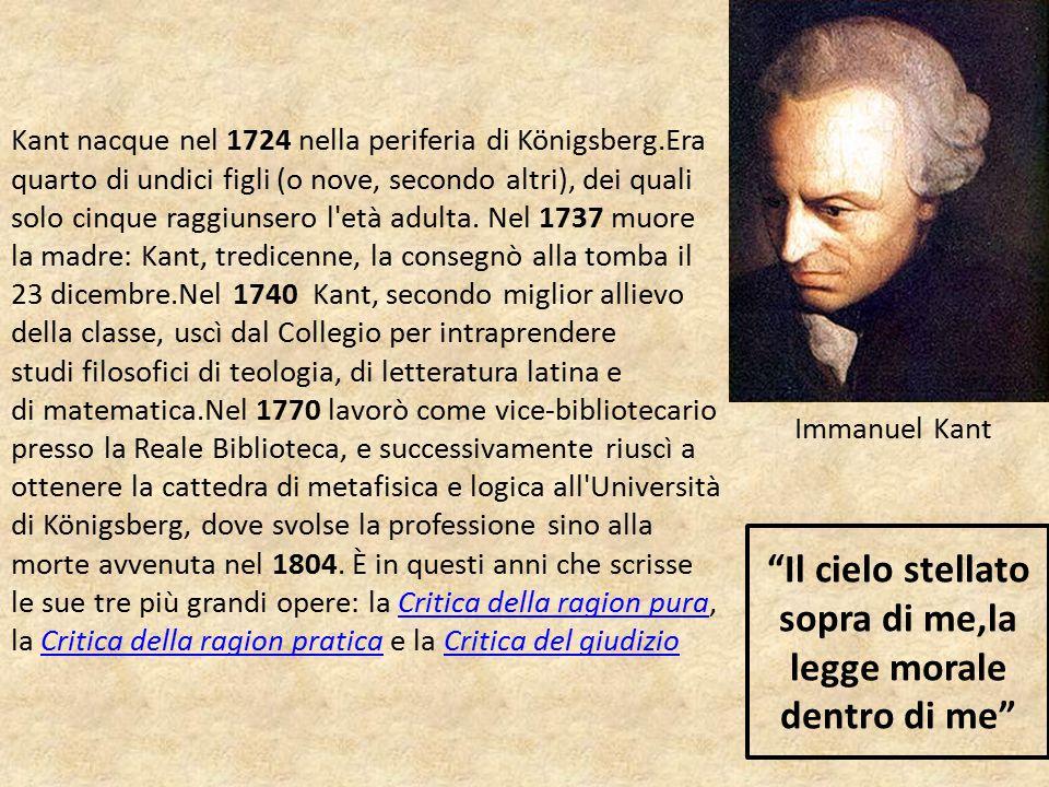 Kant nacque nel 1724 nella periferia di Königsberg.Era quarto di undici figli (o nove, secondo altri), dei quali solo cinque raggiunsero l'età adulta.