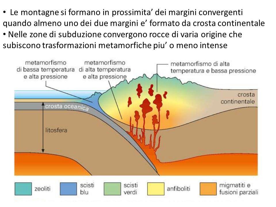 Le montagne si formano in prossimita' dei margini convergenti quando almeno uno dei due margini e' formato da crosta continentale Nelle zone di subduz