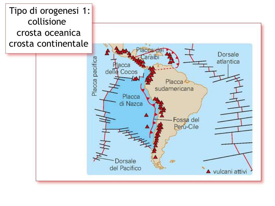 Tipo di orogenesi 1: collisione crosta oceanica crosta continentale