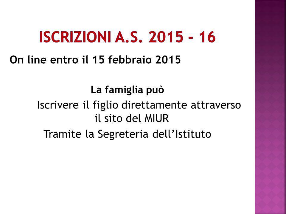 On line entro il 15 febbraio 2015 La famiglia può Iscrivere il figlio direttamente attraverso il sito del MIUR Tramite la Segreteria dell'Istituto