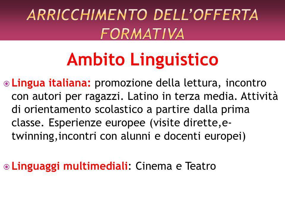 Ambito Linguistico  Lingua italiana: promozione della lettura, incontro con autori per ragazzi.