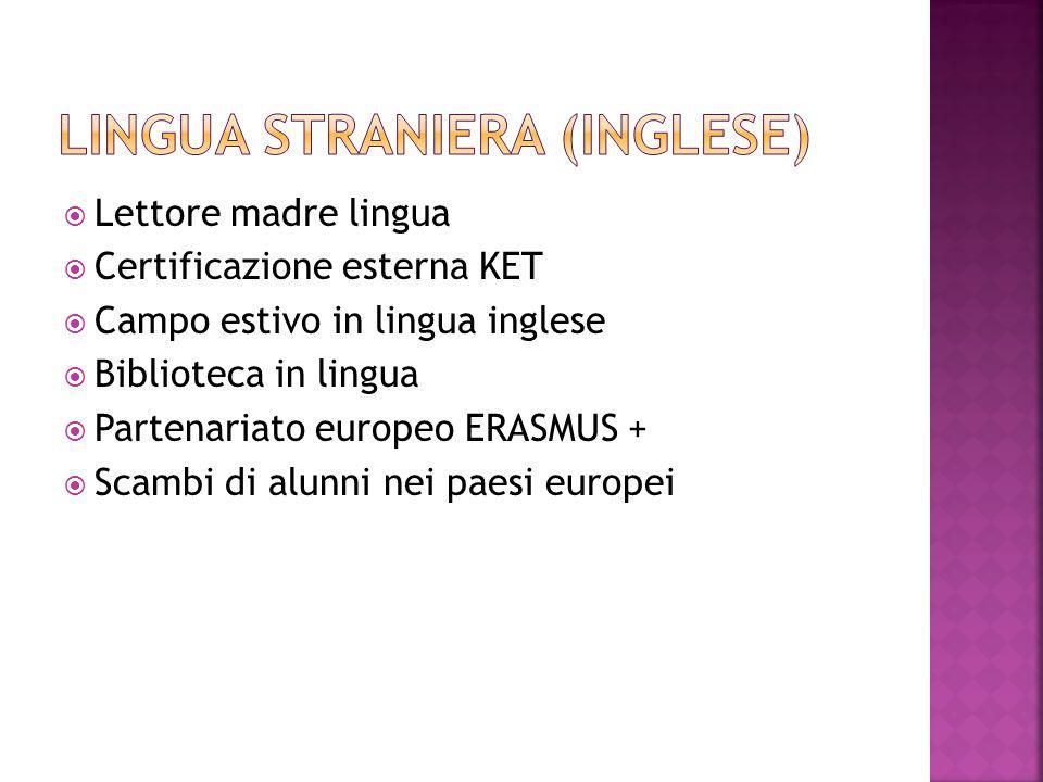  Lettore madre lingua  Certificazione esterna KET  Campo estivo in lingua inglese  Biblioteca in lingua  Partenariato europeo ERASMUS +  Scambi di alunni nei paesi europei