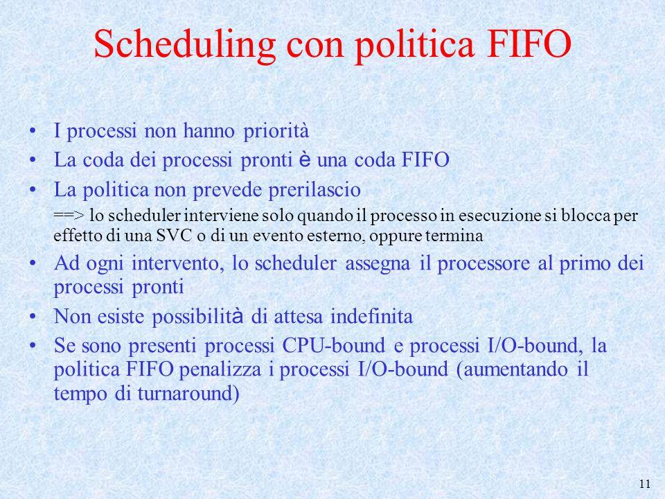 12 1) FIFO, senza prerilascio tempo P1 P2 Processi CPU bound (P1) e I/O bound (P2) In esecuzione In attesa pronto