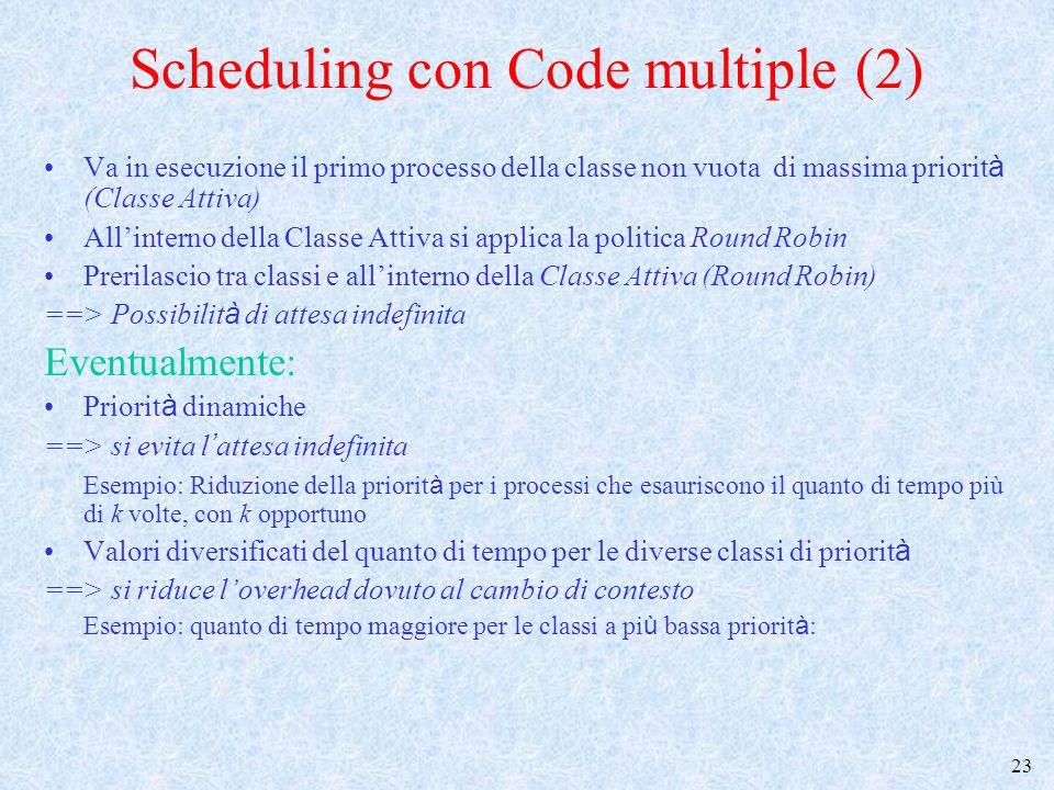 24 Scheduling dei Thread (1) Lo scheduling dei thread –utilizza algoritmi simili a quelli visti finora –viene implementato in modo diverso a seconda che i thread siano realizzati a livello kernel o a livello utente