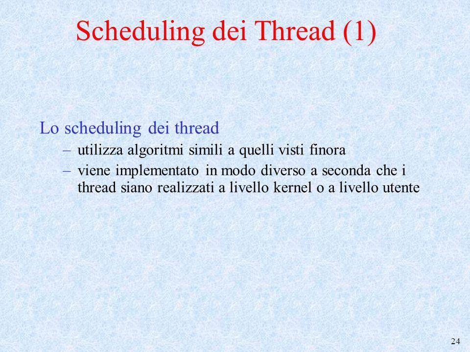 25 Scheduling dei Thread (2) Lo scheduling dei thread kernel level –L'unit à di schedulazione del kernel è il thread (non il processo) –quando un thread di un dato processo esce dallo stato di esecuzione, lo scheduler non è vincolato a mandare in esecuzione un thread dello stesso processo Nella seconda ipotesi il cambio di contesto ha costo maggiore, perch è cambia lo spazio di indirizzamento –I quanti di tempo (se previsti dalla politica di scheduling) sono assegnati ai thread Scheduler attivato dall'interruzione del Timer Applicabili politiche a priorit à con prerilascio