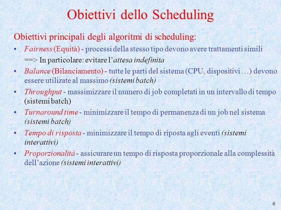 7 Short-term Scheduling (2) Scheduling senza prerilascio (non preemptive) –lo scheduler interviene solo quando un processo viene creato, oppure termina, oppure si blocca per effetto di una SVC o di un evento esterno Scheduling con prerilascio (preemptive) –lo scheduler può intervenire ogni volta che è necessario per ottenere gli obiettivi perseguiti quando diventa pronto un processo a più alta priorità rispetto a quello in esecuzione quando il processo in esecuzione ha sfruttato la CPU per massimo tempo consentito (quanto di tempo)