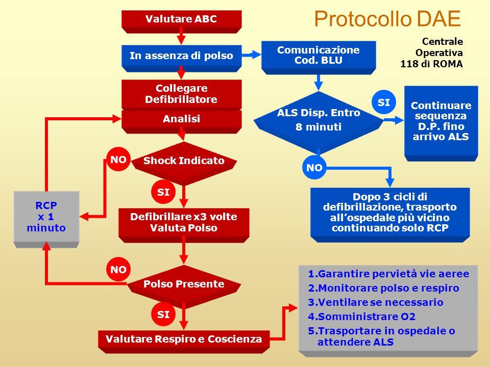 Valutare ABC Collegare Defibrillatore RCP x 1 minuto Defibrillare x3 volte Valuta Polso 1.Garantire pervietà vie aeree 2.Monitorare polso e respiro 3.