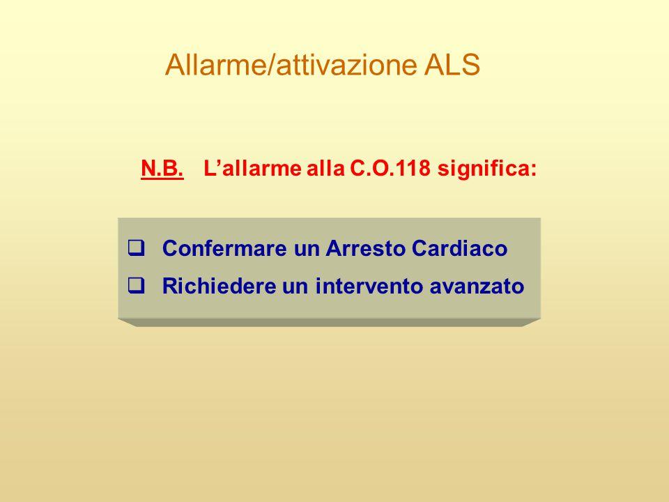 Allarme/attivazione ALS  Confermare un Arresto Cardiaco  Richiedere un intervento avanzato N.B. L'allarme alla C.O.118 significa: