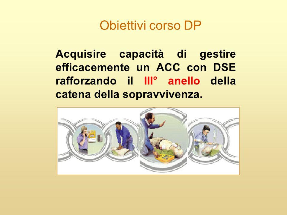 Obiettivi corso DP Acquisire capacità di gestire efficacemente un ACC con DSE rafforzando il III° anello della catena della sopravvivenza.