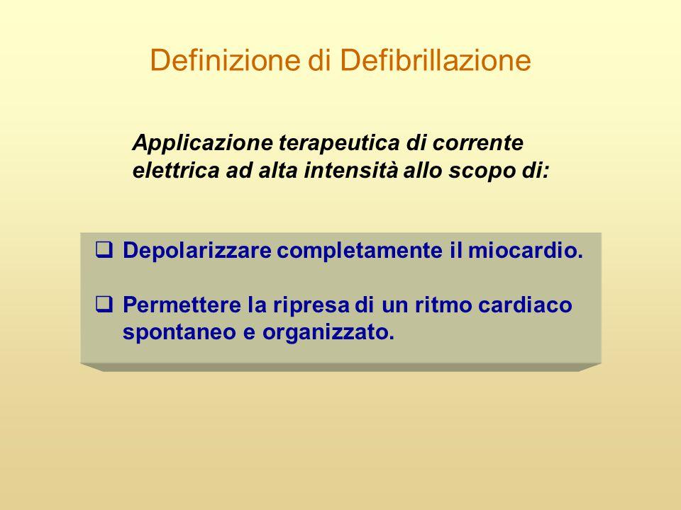 Definizione di Defibrillazione  Depolarizzare completamente il miocardio.  Permettere la ripresa di un ritmo cardiaco spontaneo e organizzato. Appli