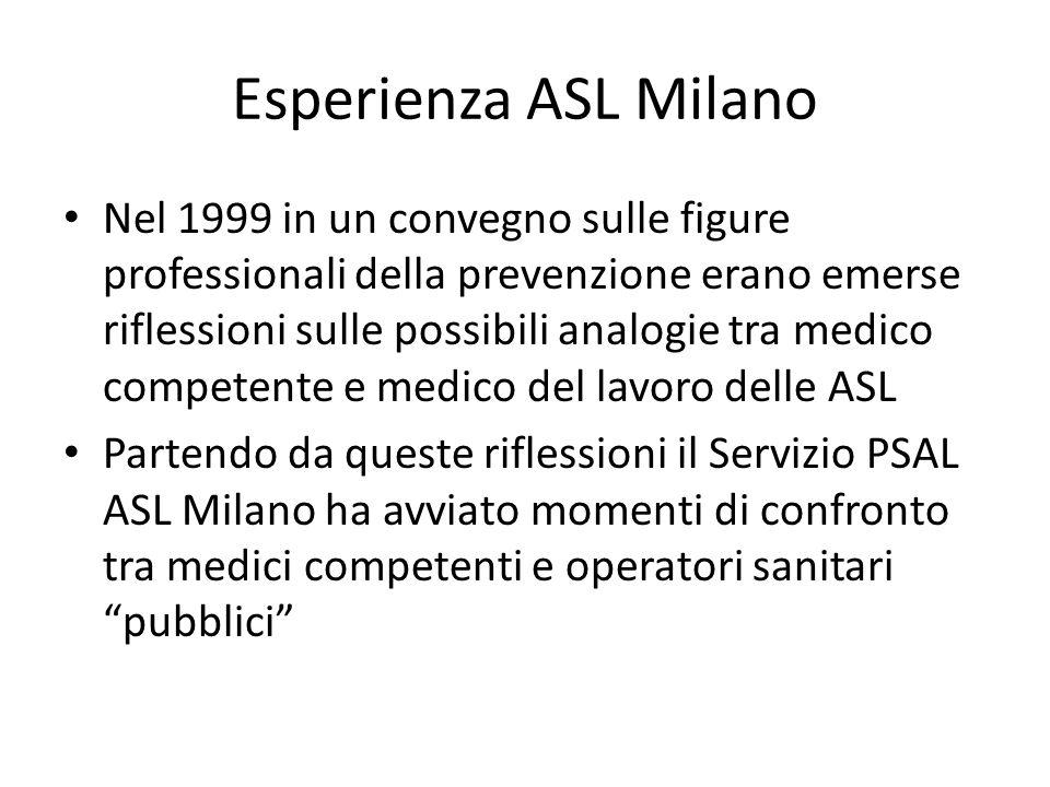 Esperienza ASL Milano Nel 1999 in un convegno sulle figure professionali della prevenzione erano emerse riflessioni sulle possibili analogie tra medico competente e medico del lavoro delle ASL Partendo da queste riflessioni il Servizio PSAL ASL Milano ha avviato momenti di confronto tra medici competenti e operatori sanitari pubblici