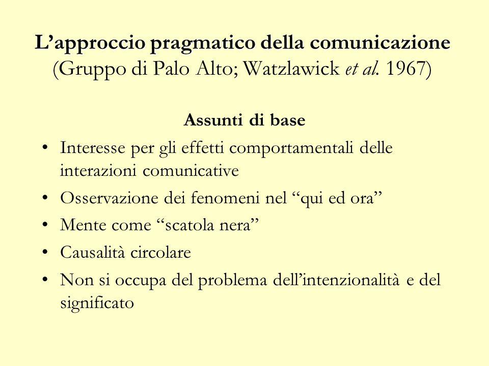 L'approccio pragmatico della comunicazione L'approccio pragmatico della comunicazione (Gruppo di Palo Alto; Watzlawick et al. 1967) Assunti di base In