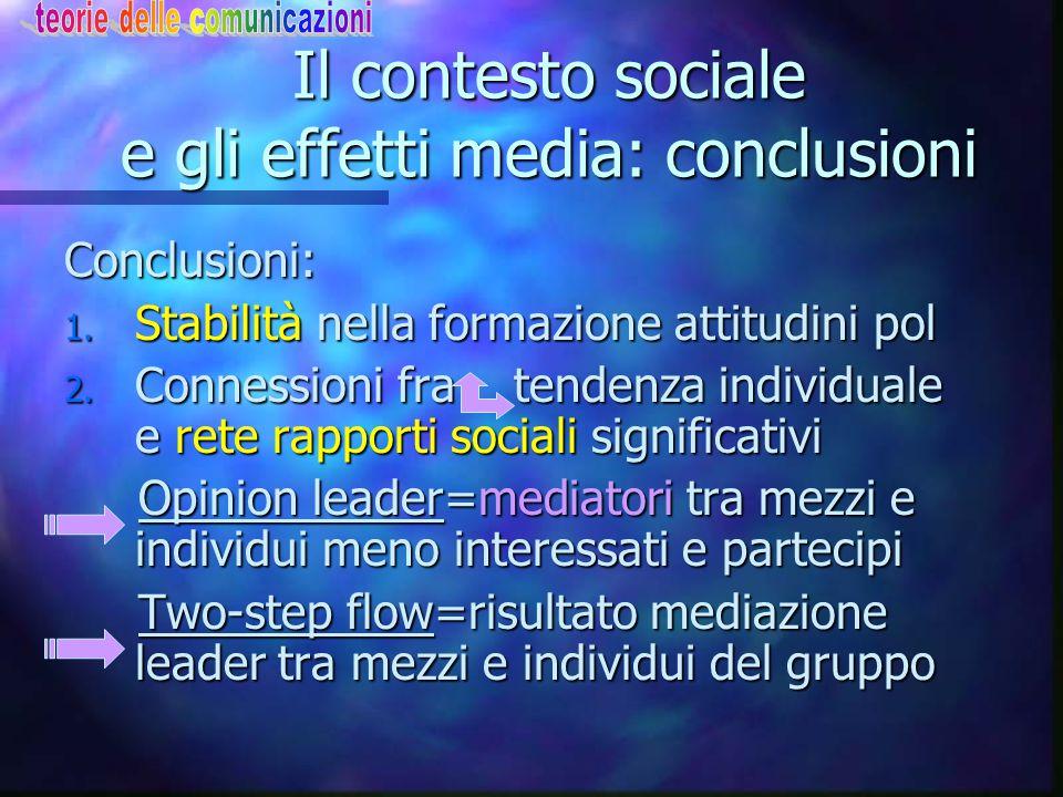 Il contesto sociale e gli effetti media: conclusioni Conclusioni: 1. Stabilità nella formazione attitudini pol 2. Connessioni fra tendenza individuale
