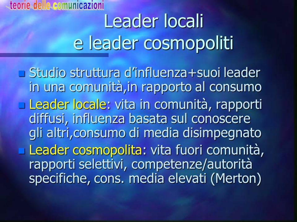 Leader locali e leader cosmopoliti n Studio struttura d'influenza+suoi leader in una comunità,in rapporto al consumo n Leader locale: vita in comunità
