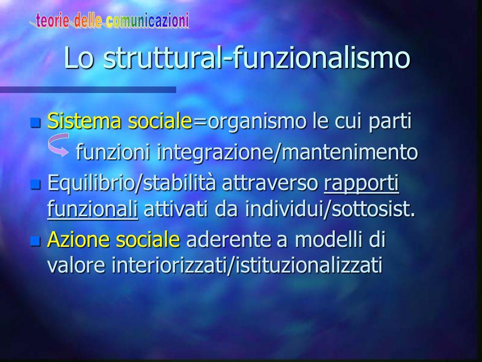 Lo struttural-funzionalismo n Sistema sociale=organismo le cui parti funzioni integrazione/mantenimento funzioni integrazione/mantenimento n Equilibri