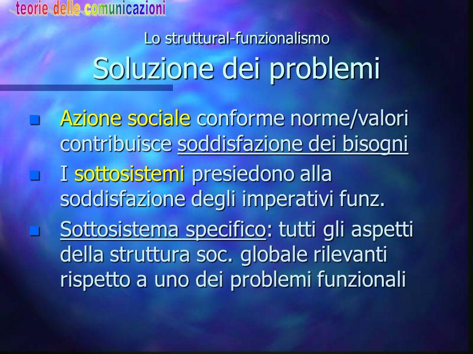 Lo struttural-funzionalismo Soluzione dei problemi n Azione sociale conforme norme/valori contribuisce soddisfazione dei bisogni n I sottosistemi pres