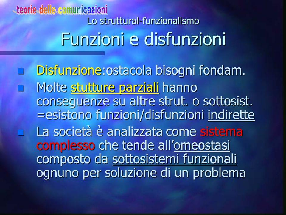 Lo struttural-funzionalismo Funzioni e disfunzioni n Disfunzione:ostacola bisogni fondam. n Molte stutture parziali hanno conseguenze su altre strut.