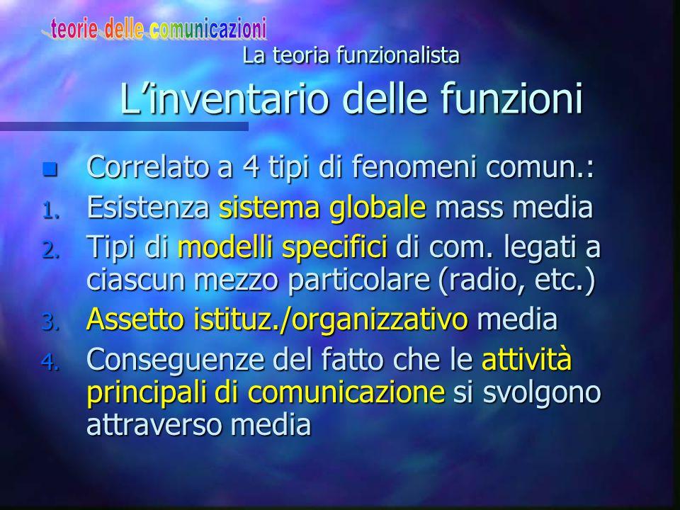 La teoria funzionalista L'inventario delle funzioni n Correlato a 4 tipi di fenomeni comun.: 1. Esistenza sistema globale mass media 2. Tipi di modell