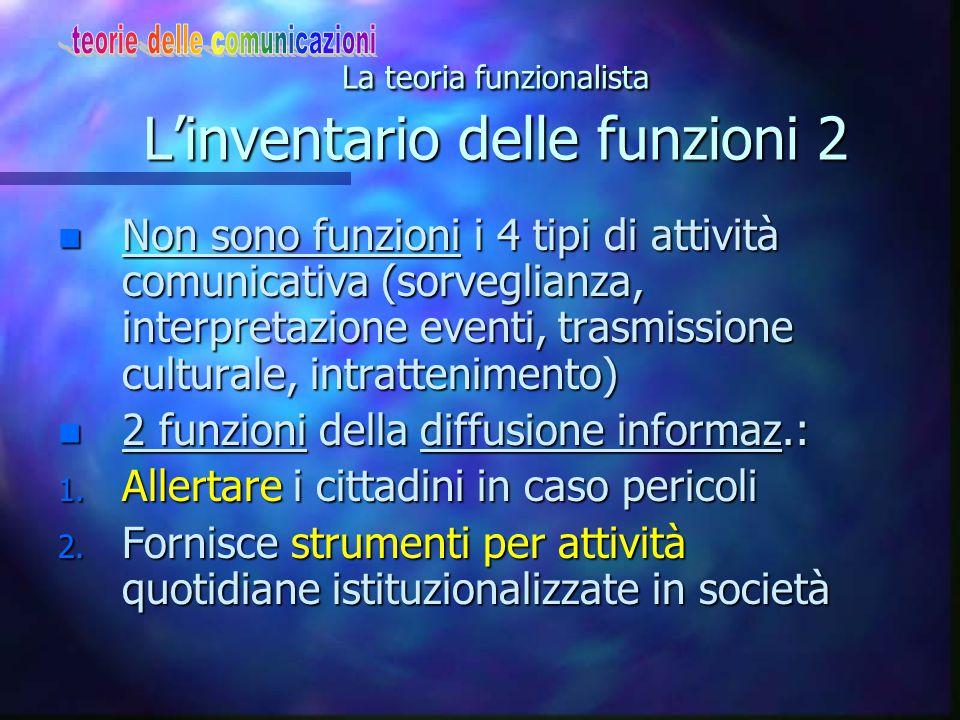 La teoria funzionalista L'inventario delle funzioni 2 n Non sono funzioni i 4 tipi di attività comunicativa (sorveglianza, interpretazione eventi, tra