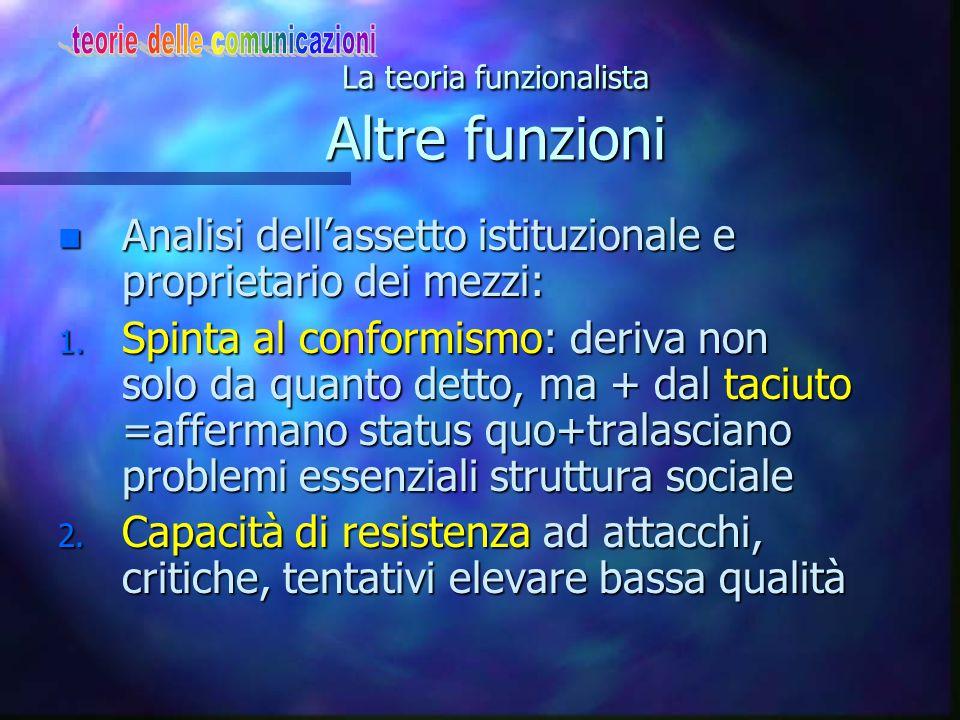 La teoria funzionalista Altre funzioni n Analisi dell'assetto istituzionale e proprietario dei mezzi: 1. Spinta al conformismo: deriva non solo da qua