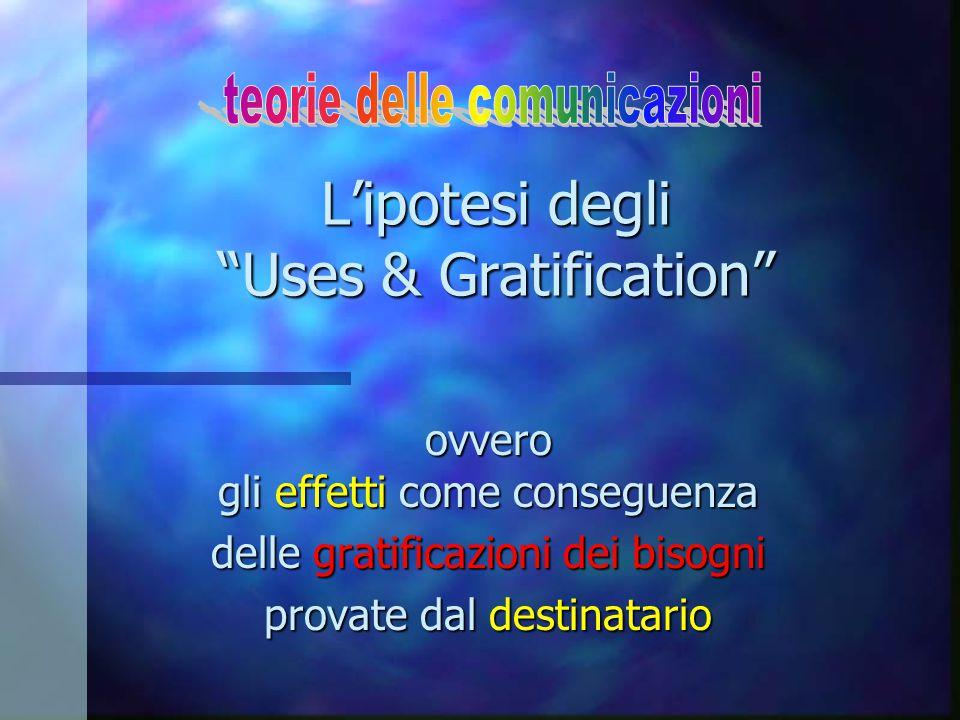 """L'ipotesi degli """"Uses & Gratification"""" ovvero gli effetti come conseguenza delle gratificazioni dei bisogni provate dal destinatario"""
