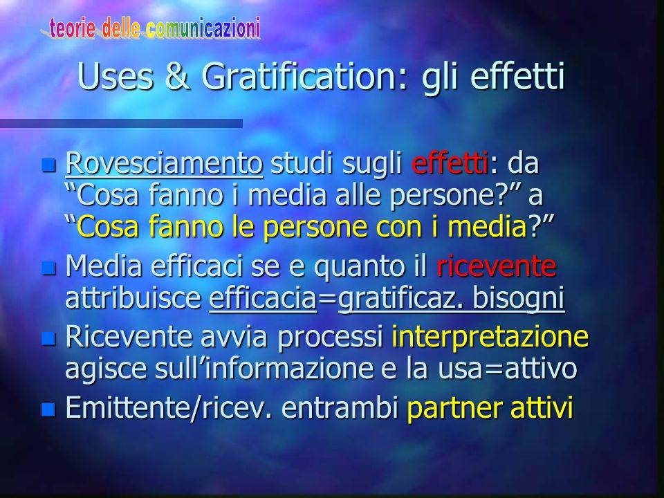 """Uses & Gratification: gli effetti n Rovesciamento studi sugli effetti: da """"Cosa fanno i media alle persone?"""" a """"Cosa fanno le persone con i media?"""" n"""