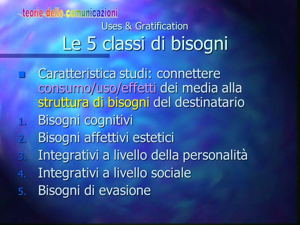 Uses & Gratification Le 5 classi di bisogni n Caratteristica studi: connettere consumo/uso/effetti dei media alla struttura di bisogni del destinatari