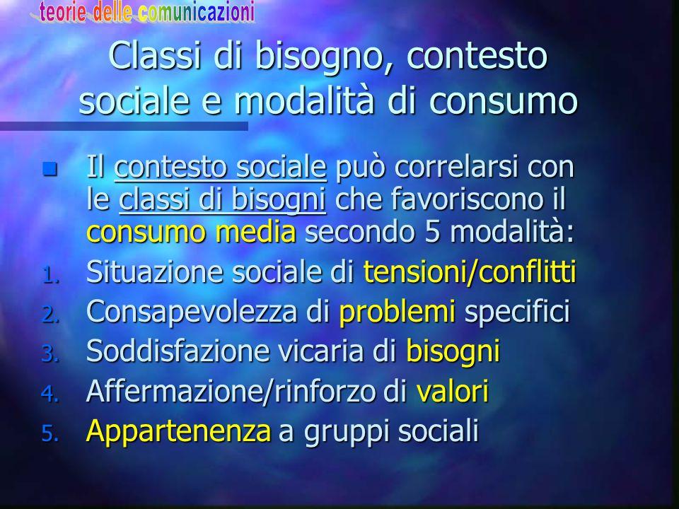 Classi di bisogno, contesto sociale e modalità di consumo n Il contesto sociale può correlarsi con le classi di bisogni che favoriscono il consumo med