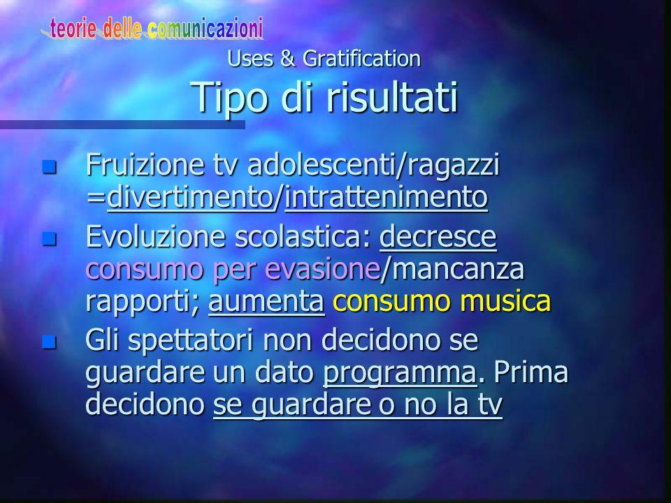 Uses & Gratification Tipo di risultati n Fruizione tv adolescenti/ragazzi =divertimento/intrattenimento n Evoluzione scolastica: decresce consumo per