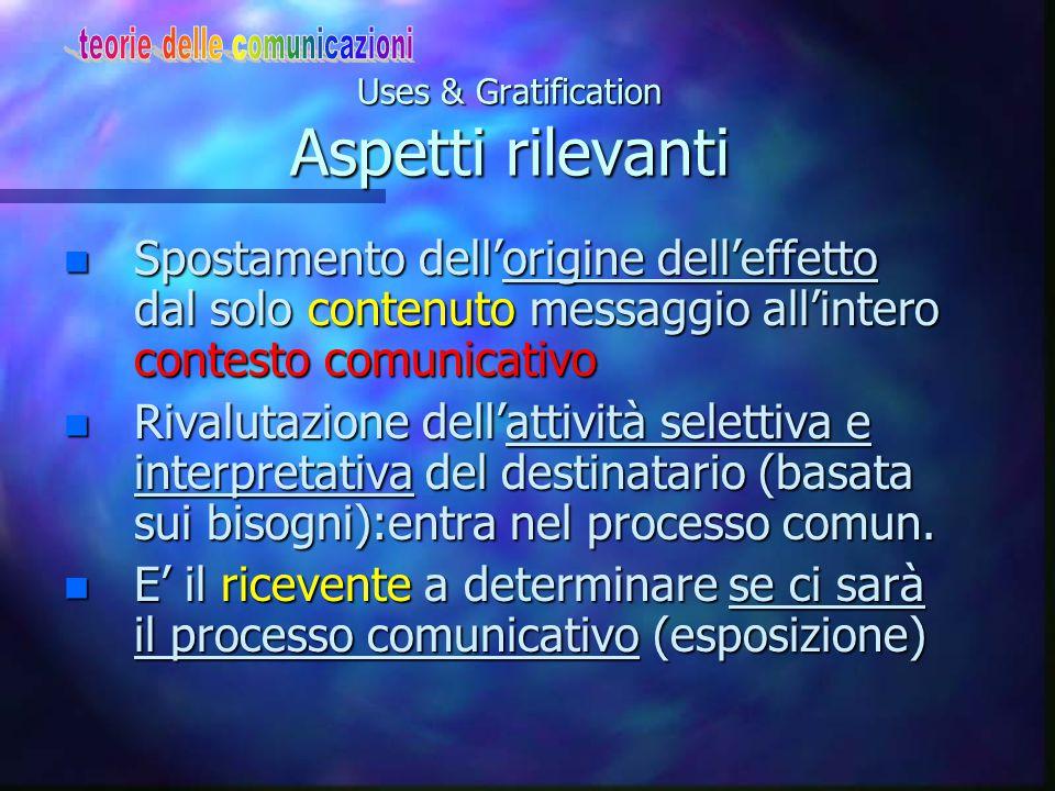 Uses & Gratification Aspetti rilevanti n Spostamento dell'origine dell'effetto dal solo contenuto messaggio all'intero contesto comunicativo n Rivalut