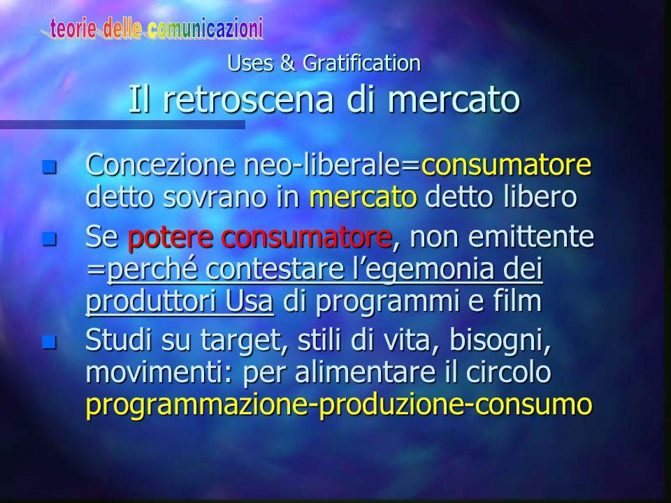 Uses & Gratification Il retroscena di mercato n Concezione neo-liberale=consumatore detto sovrano in mercato detto libero n Se potere consumatore, non