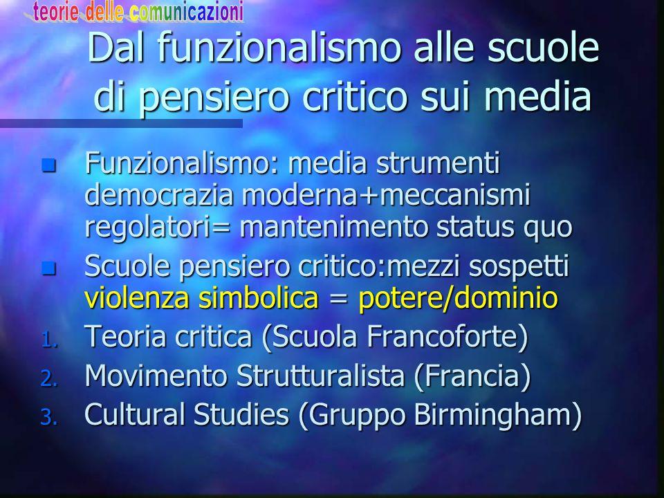 Dal funzionalismo alle scuole di pensiero critico sui media n Funzionalismo: media strumenti democrazia moderna+meccanismi regolatori= mantenimento st