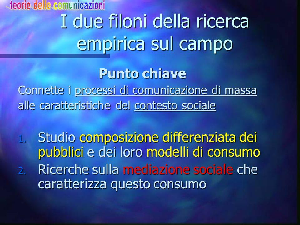 Uses & Gratification Le 5 classi di bisogni n Caratteristica studi: connettere consumo/uso/effetti dei media alla struttura di bisogni del destinatario 1.