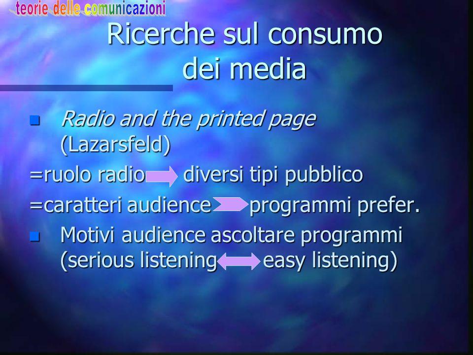 Ricerche sul consumo dei media n Radio and the printed page (Lazarsfeld) =ruolo radio diversi tipi pubblico =caratteri audience programmi prefer. n Mo