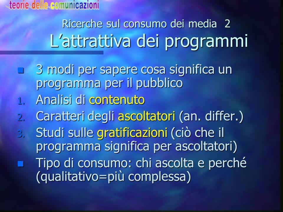 Ricerche sul consumo dei media 2 L'attrattiva dei programmi n 3 modi per sapere cosa significa un programma per il pubblico 1. Analisi di contenuto 2.