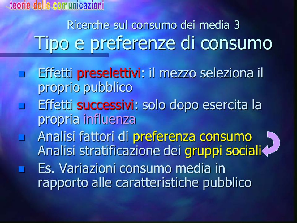 Ricerche sul consumo dei media 3 Tipo e preferenze di consumo n Effetti preselettivi: il mezzo seleziona il proprio pubblico n Effetti successivi: sol
