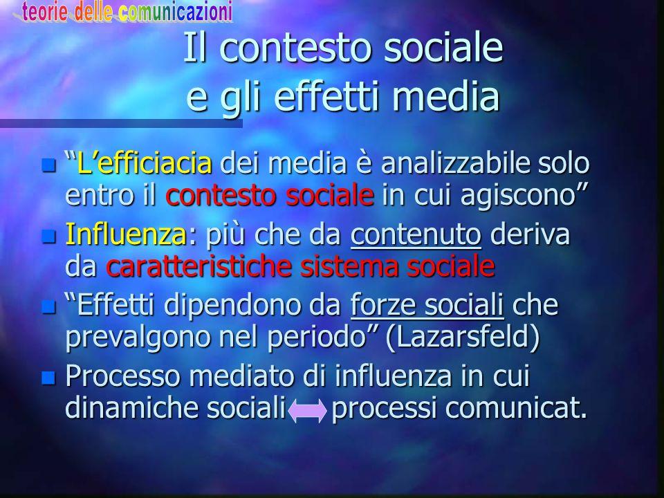 """Il contesto sociale e gli effetti media n """"L'efficiacia dei media è analizzabile solo entro il contesto sociale in cui agiscono"""" n Influenza: più che"""