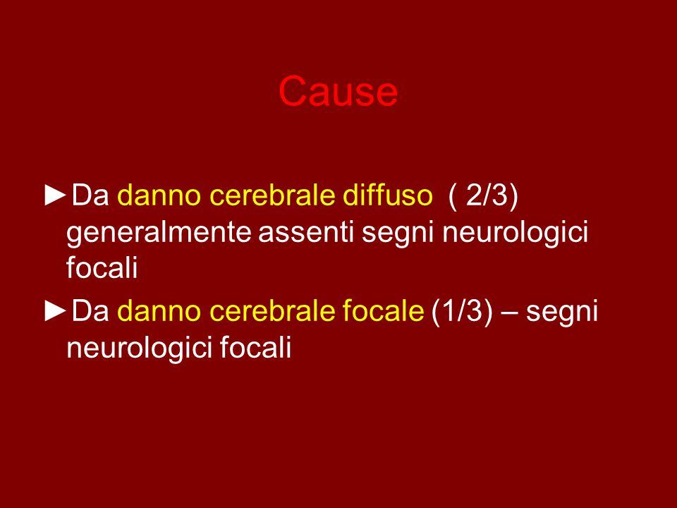 Cause ►Da danno cerebrale diffuso ( 2/3) generalmente assenti segni neurologici focali ►Da danno cerebrale focale (1/3) – segni neurologici focali