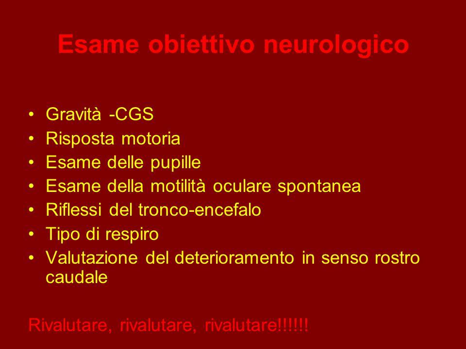 Esame obiettivo neurologico Gravità -CGS Risposta motoria Esame delle pupille Esame della motilità oculare spontanea Riflessi del tronco-encefalo Tipo