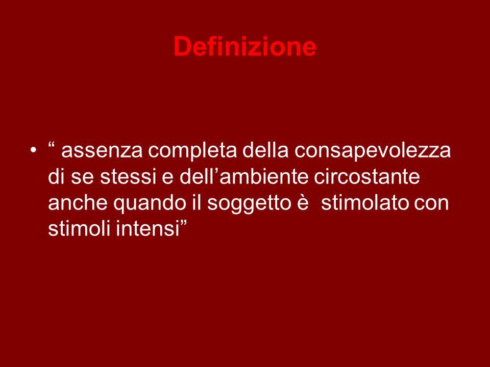 Definizione assenza completa della consapevolezza di se stessi e dell'ambiente circostante anche quando il soggetto è stimolato con stimoli intensi