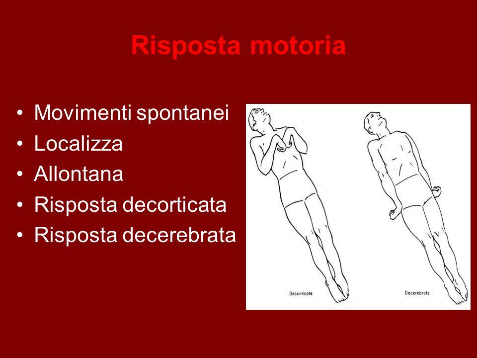 Risposta motoria Movimenti spontanei Localizza Allontana Risposta decorticata Risposta decerebrata