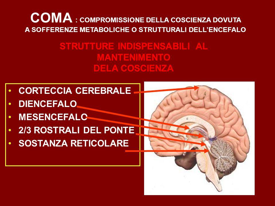 COMA : COMPROMISSIONE DELLA COSCIENZA DOVUTA A SOFFERENZE METABOLICHE O STRUTTURALI DELL'ENCEFALO CORTECCIA CEREBRALE DIENCEFALO MESENCEFALO 2/3 ROSTRALI DEL PONTE SOSTANZA RETICOLARE STRUTTURE INDISPENSABILI AL MANTENIMENTO DELA COSCIENZA