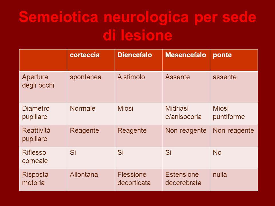 Semeiotica neurologica per sede di lesione cortecciaDiencefaloMesencefaloponte Apertura degli occhi spontaneaA stimoloAssenteassente Diametro pupillar