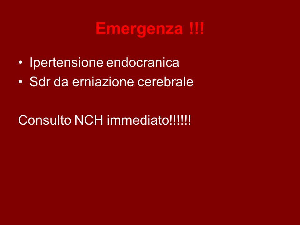 Emergenza !!! Ipertensione endocranica Sdr da erniazione cerebrale Consulto NCH immediato!!!!!!