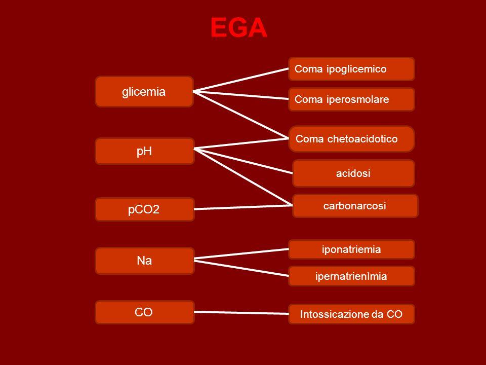 EGA glicemia pH iponatriemia carbonarcosi pCO2 Intossicazione da CO CO ipernatrienìmia Na Coma chetoacidotico Coma ipoglicemico acidosi Coma iperosmolare